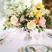 Whimsical Garden Wedding Table in Pink, Yellow, and Green