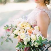 Bride with a Pastel Botanical Bouquet