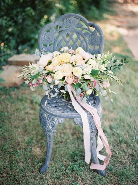 Lush Pastel Garden Bouquet in Peach and Yellow