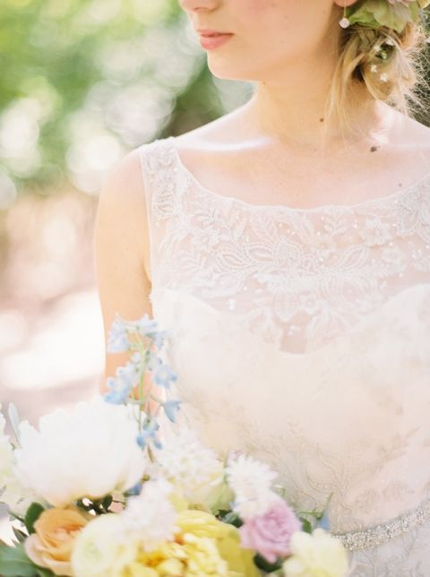 Delicate Lace Wedding Dress with a High Neckline