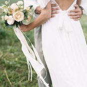 Low Back Chiffon Wedding Dress for a Romantic Rustic Elopement