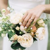 Peach Garden Rose Bouquet with a Natural Gold Engagement Ring