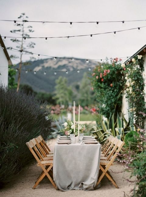 Outdoor Rose Garden Wedding Reception in Southern California