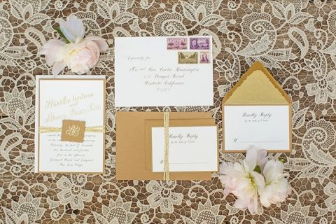Kraft Paper Invitations on a Vintage Lace Tablecloth