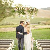 Floral Crystal Chandelier for an Outdoor Wedding Ceremony