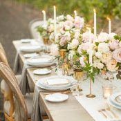 Vintage Farm Table with Gold Accents and Blush Flowers