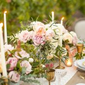Champagne Silk Table Runner with Lush Summer Flowers