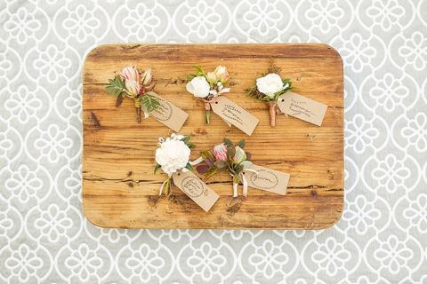 Botanical Boutonnieres with Kraft Paper Tags