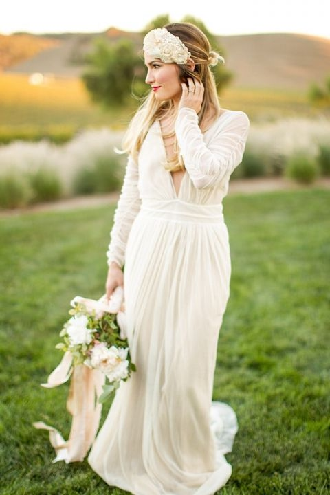 Vintage Glam Wedding Dress with Long Sleeves