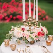 Vintage Gold Sweetheart Table Decor with Pink and Blush Flowers