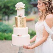 Blush Wedding Cake with Metallic Gold Foil and Garden Roses