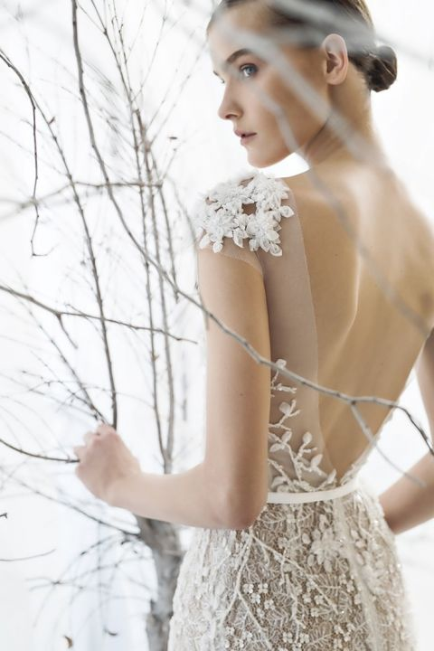 Deep Back Illusion and Lace Wedding Dress