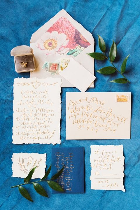 Royal Blue and Gold Wedding Invitations with Floral Print
