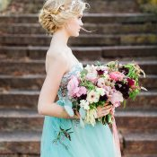 Pastel Wedding Dress with a Colorful Bouquet