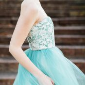 Colorful Tulle and Lace Wedding Dress