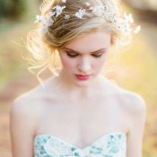 Elegant and Ethereal Bridal Headpiece and Romantic Makeup