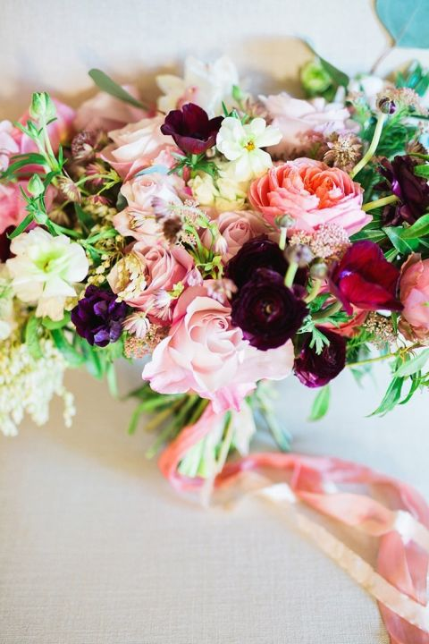 Romantic Jewel Tone Bouquet in Pink and Purple