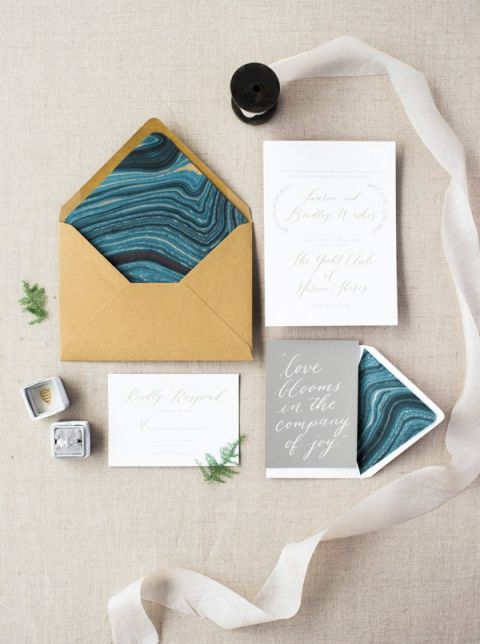 Blue and Gray Marbled Wedding Invitation