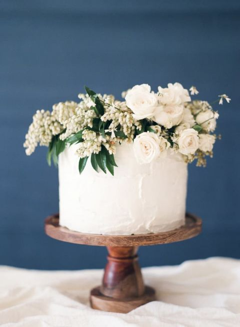 Simple Wedding Cake with an Organic Floral Topper