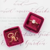 Burgundy and Gold Monogram Engagement Ring Box