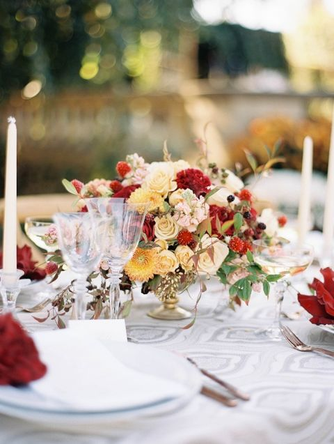 Gorgeous Colorful Fall Wedding Table Decor Classic Centerpiece On Gray Patterned Linens
