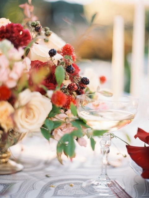Autumn Wedding Centerpiece With Fall Colors And Berries