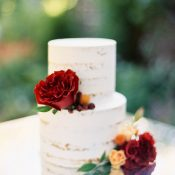 Simple Wedding Cake with Bright Fall Flowers