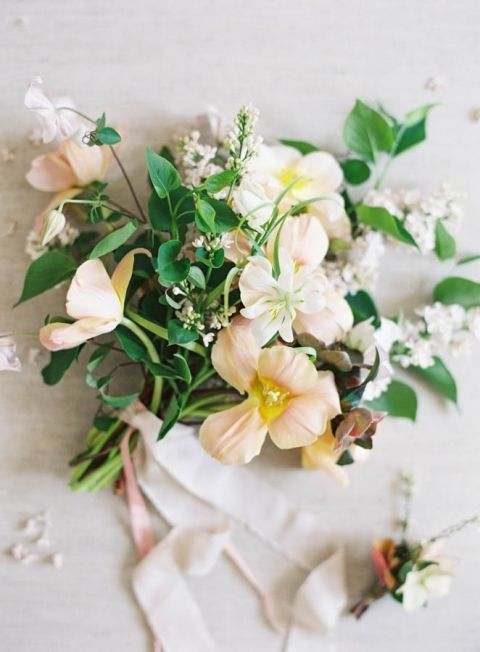 Organic Peach and Green Summer Wedding Bouquet