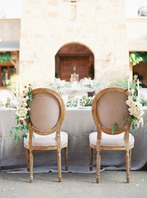 Elegant Neutral Sweetheart Table with Natural Chair Decor