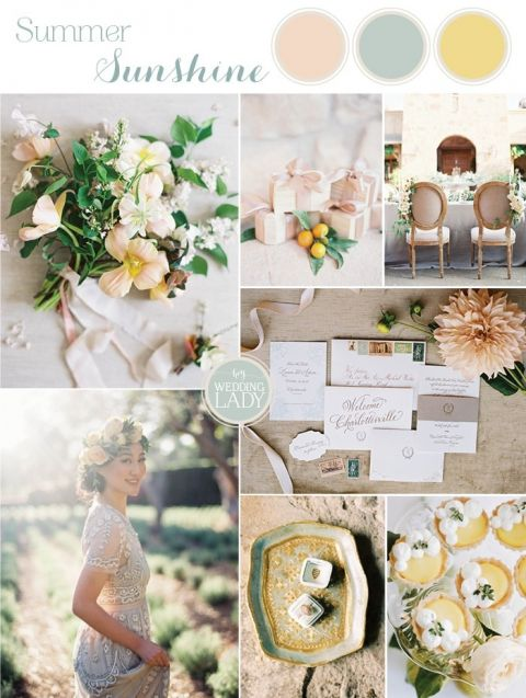 Pastel Summer Citrus Wedding Inspiration in Peach, Yellow, and Orange with a Vintage Wedding Dress and Organic Flowers