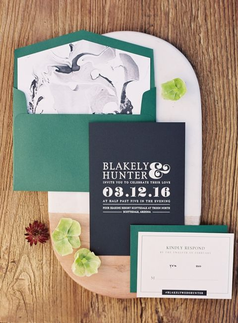 Emerald Green and Marble Letter Press Wedding Invitation