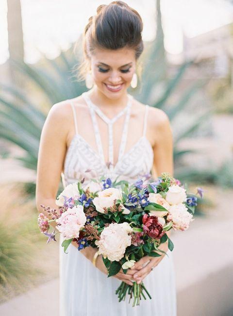 Jewel Toned Summer Bouquet with a Modern Halter Wedding Dress