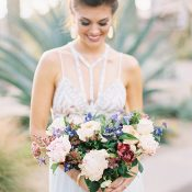 Jewel Toned Summer Bouquet with a Modern Halter Wedding Dress