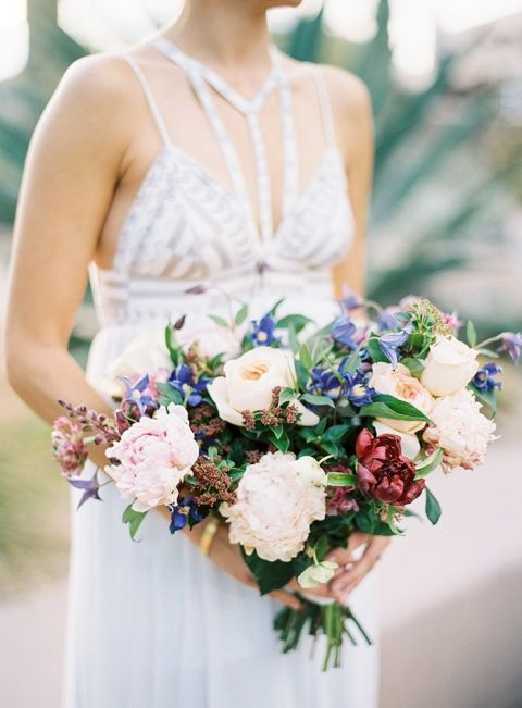 Purple and Ivory Peony Bouquet for a Modern Summer Bride