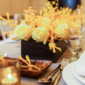 Modern Yellow and Gray Wedding Decor with Tropical Flair