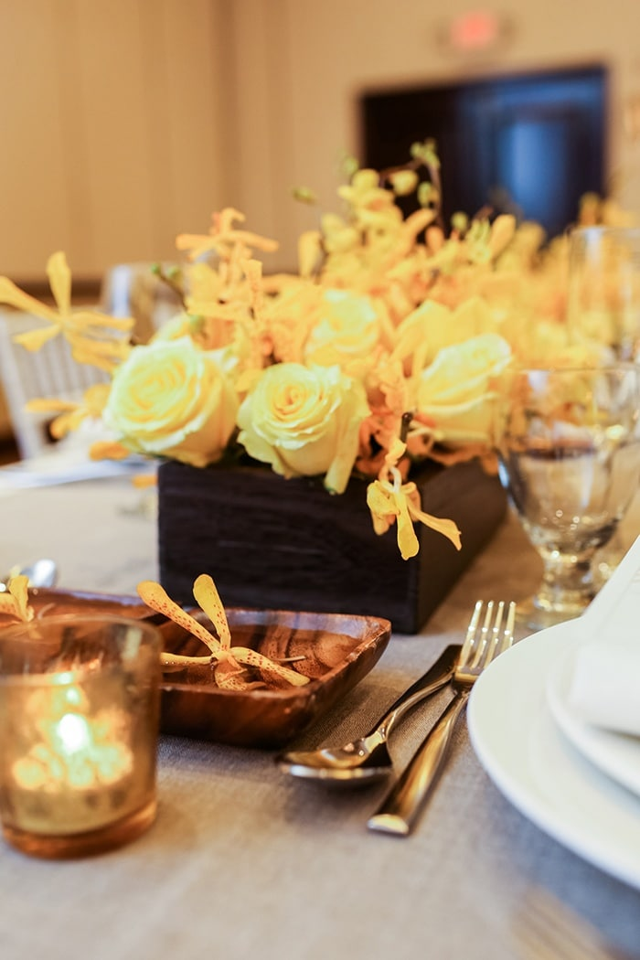 Modern Yellow And Gray Wedding Decor With Tropical Flair Alexis
