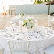 Ruffled White Wedding Table on the Beach