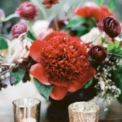 Crimson Charm Peony Centerpiece with Gold Mercury Glass