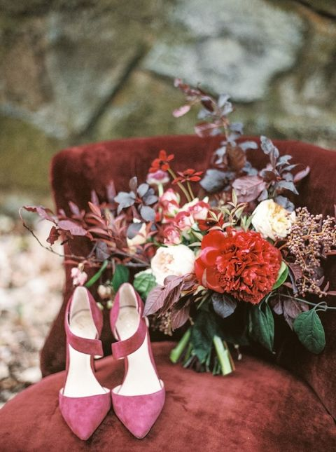 Berry Suede Bridal Shoes With A Crimson Charm Peony Bouquet