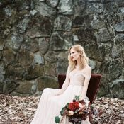 Blush Off the Shoulder Wedding Dress with Burgundy Flowers