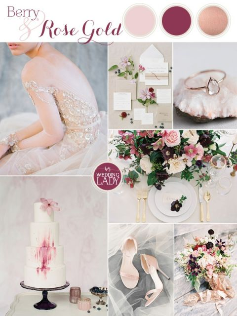 Sparkling Berry and Rose Gold Glam Wedding Inspiration