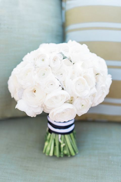 All White Bouquet with Black Striped Ribbon