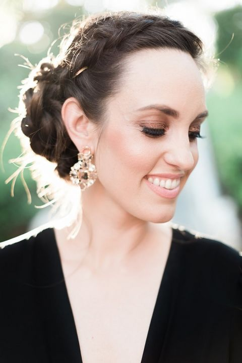 Smoky Eyes, A Braided Updo, and Champagne Statement Earrings
