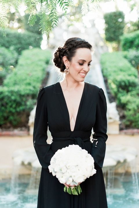 Plunging Black Maxi Dress with Long Sleeves for a Classic Engagement Shoot
