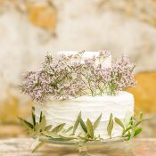 Rustic Wedding Cake with Olive Branches and Flowers