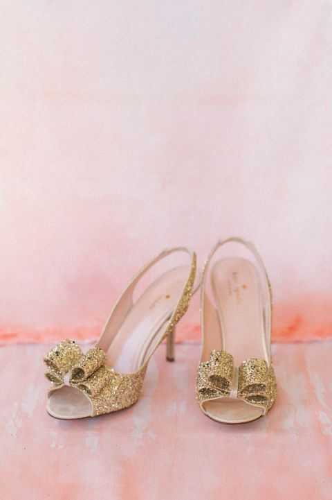 Coral Wedding Shoes 4 Popular Sparkling Gold Bow Wedding