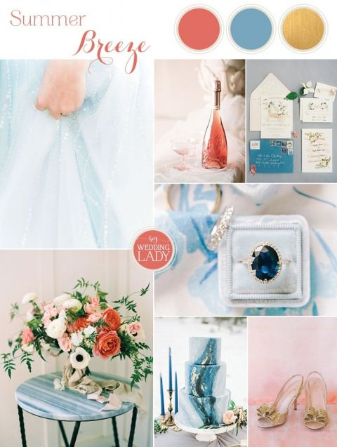 Playful Patterns in Blue and Coral for a Summer Wedding