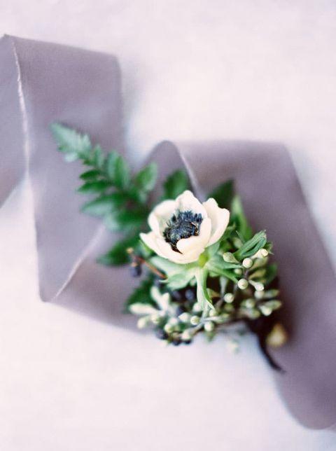 Winter Greenery and Anemone Boutonniere