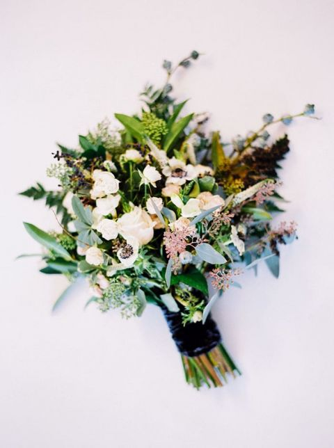 Organic Greenery Bouquet with Blush and Ivory Flowers