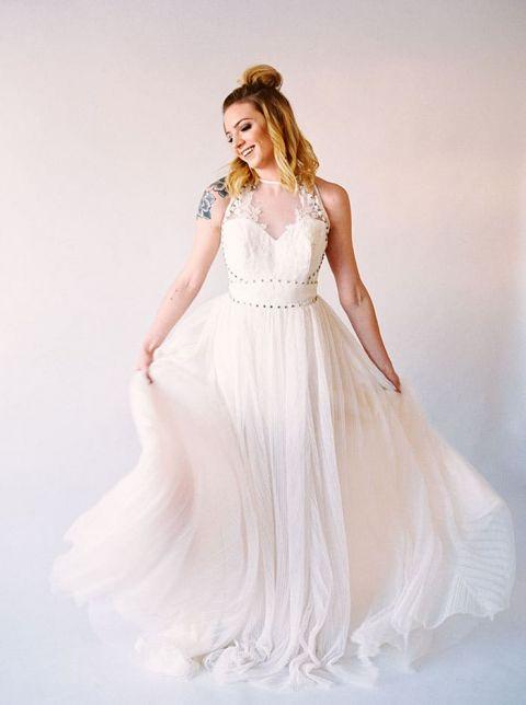 Chiffon A-Line Wedding Dress with Metallic Studded Details